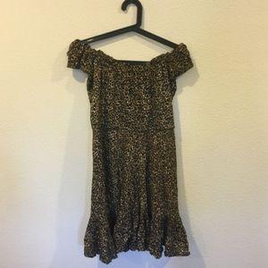 Tiare Hawaii Dresses - Tiare Hawaii Riviera cheetah off shoulder dress